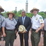 """""""Welcome to the High Bridge,"""" said Parks and Recreation Commissioner Mitchell Silver (center)."""