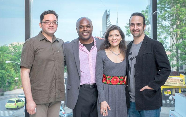 The 2015 honorees are (from left to right): Eduardo Gómez; Ty Jones, Andrea Arroyo and Lin-Manuel Miranda.