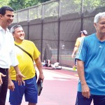 """Enjoy playing tennis,"" encouraged Councilmember Ydanis Rodríguez (far left) with instructors."