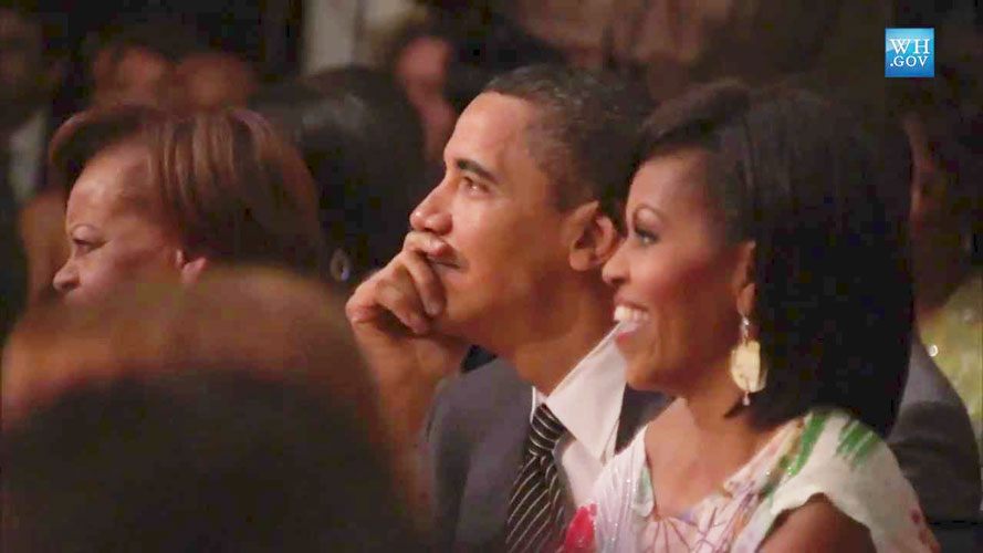 The President and the First Lady at Poetry Night.