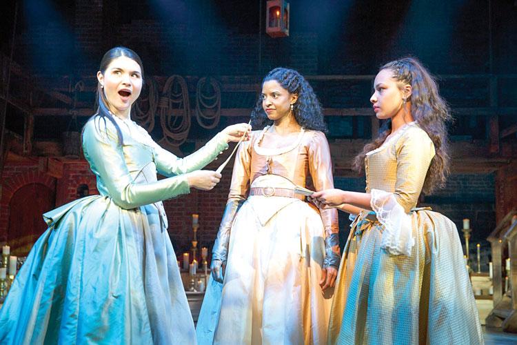 From left to right: Phillipa Soo, Renee Elise Goldsberry, and Jasmine Cephas Jones.