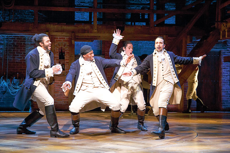 """The composer wanted to """"tell the story of America then looking like America now."""" From left to right: Daveed Diggs, Okieriete Onaodowan, Anthony Ramos, and Miranda."""