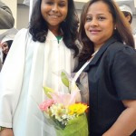 Graduate Sol-Marie Quintero with her mother.