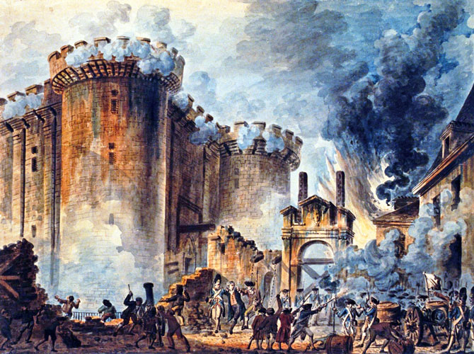 Prise de la Bastille, as depicted by Jean-Pierre-Louis-Laurent Houel.