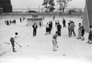 Highbridge Park Pool has been used in the past for shuffleboard, volleyball, and other sports in the off-season. Photo: October 1, 1936. Neg. 9721/ NYC Parks Department