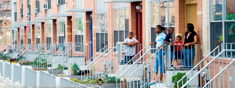The exhibit highlights affordable housing.