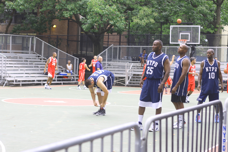 NYPD members took part in a pick-up game.