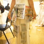Some of the women pinned stories of domestic violence victims to their dresses.
