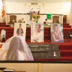 At the Fort Washington Presbyterian Church, large portraits and photos depicting some of the women killed by their abusers were placed on the altar.