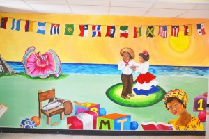 The mural greets visitors in the front lobby.