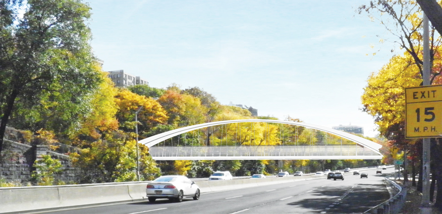 A new pedestrian and bike bridge is coming to 151st Street. Photo: Rendering courtesy of NYSDOT