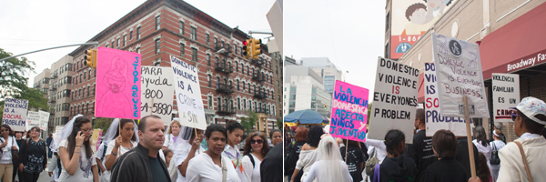 Protestors carried signs in English and Spanish calling for an end to domestic violence.
