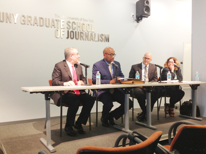 The panel included (from left to right) Stringer, Errol Louis, David Cruz, and Tequila Minsky.