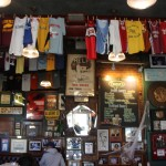 Memorabilia – and running jerseys – dictate the décor.