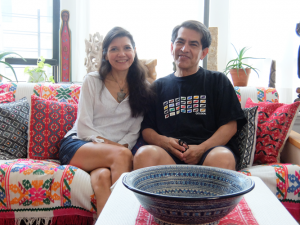 """A lot of things that people discard--I found them really attractive,"" says artist Felipe ""Feggo"" Galindo, here with his wife, artist Andrea Arroyo."