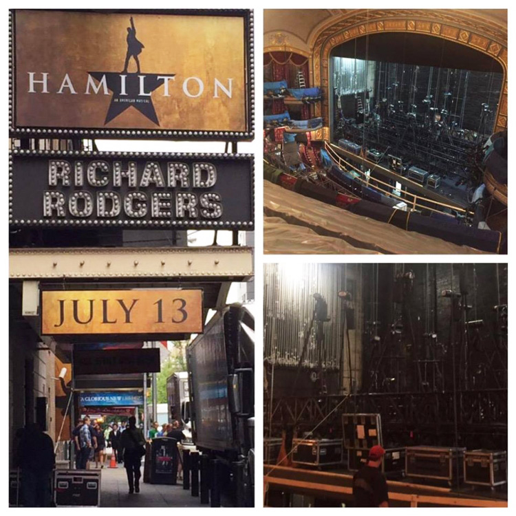 The show arrives on Broadway for load-in.
