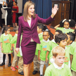 Queen Letizia of Spain visited Dos Puentes Elementary School uptown in Sept. 2014 in celebration of dual language programs.