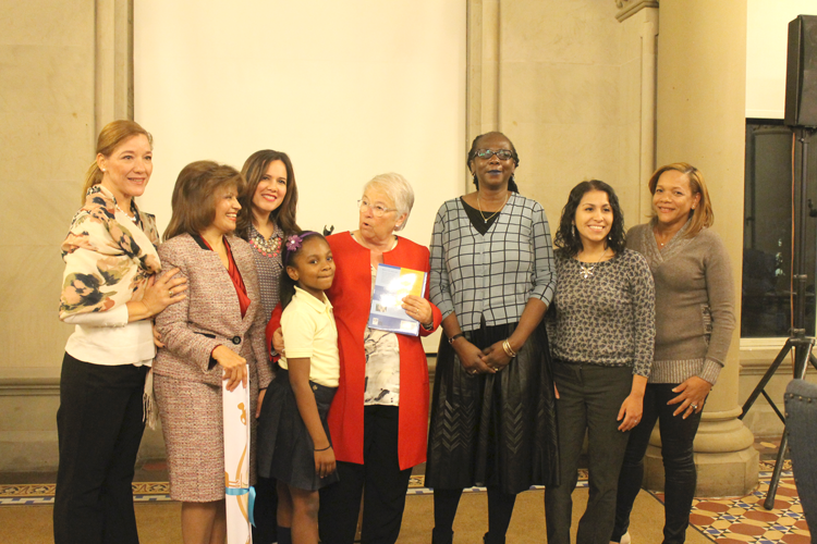 Schools Chancellor Fariña with P.S. 161 school staff including Principal Pamela Price (third right) and Spanish Dual Language student Channing Guggenheim. Photo: NYC Department of Education