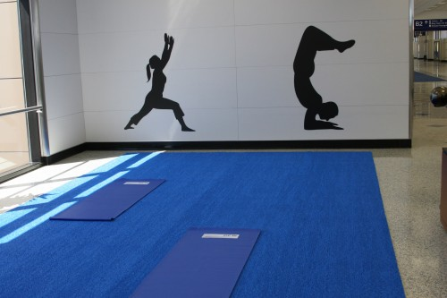 Some airports have yoga studios.