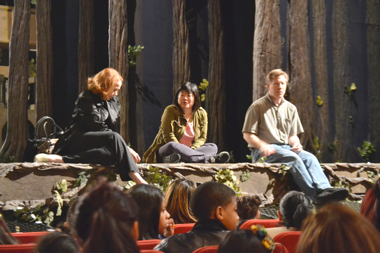 """There are """"talkback"""" sessions with cast and crew members after the shows; here, a 2013 Q and A at Cinderella."""
