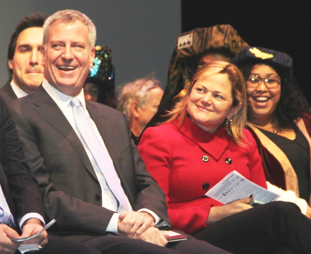 Mayor Bill de Blasio beside City Council Speaker Melissa Mark-Viverito.