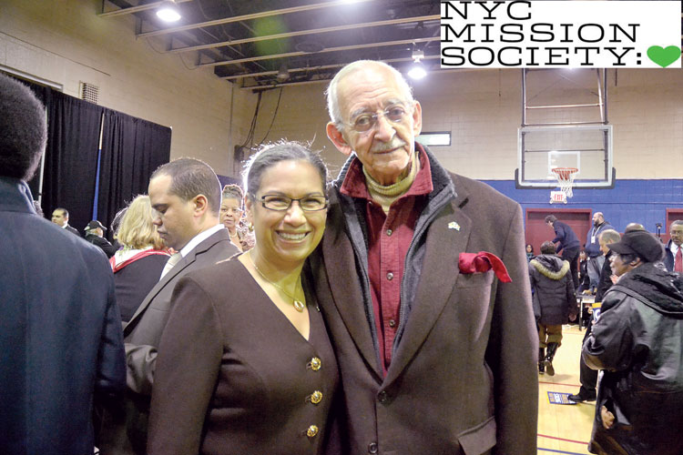 Mission Society president Elsie McCabe Thompson with Assemblymember Herman D. Farrell.