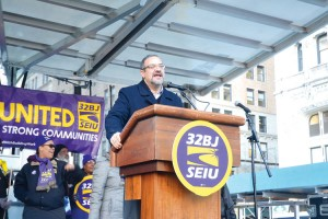 """""""We are talking about protecting our jobs,"""" said 32BJ President Héctor Figueroa."""
