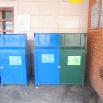Recycling bins outside of the General Grant Houses.