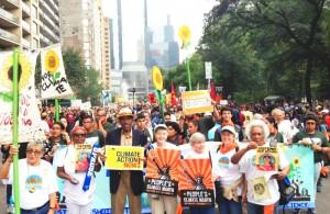En la marcha del Cambio Climático de la Gente en 2014.