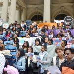 Hundreds rallied at City Hall.
