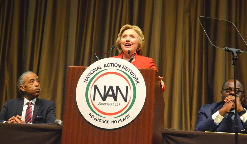 Clinton spoke at the 25th Annual Convention of the National Action Network.