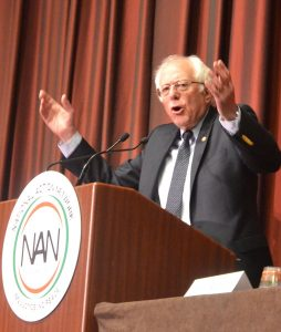 """""""You'll have a president who is prepared to take on the billionaire class,"""" promised Sanders."""