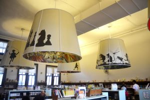 The second floor children's section at Fort Washington features several oversized lampshades.