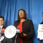 """It is pretty damning,"" said Public Advocate Letitia James (center)."