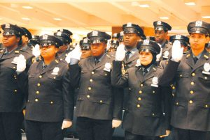 School safety agents take the oath at One Police Plaza.
