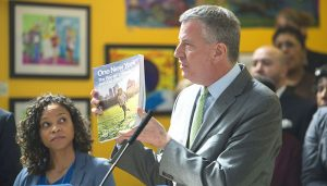 Mayor Bill de Blasio presented the OneNYC plan on Earth Day in 2015.