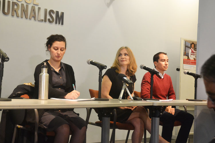 The discussion was held at the Graduate School of Journalism.