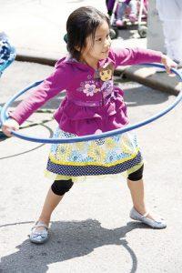Natasha, 4, goes for a whirl.