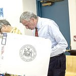 Mayor Bill de Blasio cast his primary ballot. Photo: Mayoral Photography Office