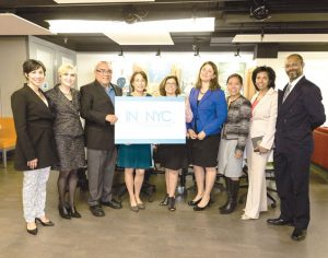 From left: CCNY's Lindsay Siegel, Elena Sturman, Joe Barba; Ann Kirschner (CUNY), CCNY President Lisa S. Coico, Deputy Mayor Alicia Glen, Torres-Springer, Vice President Karen Witherspoon (CCNY) and Andy Holtz (CCNY).