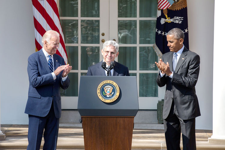 Chief Judge Merrick Garland (center) was nominated in March. Photo: White House
