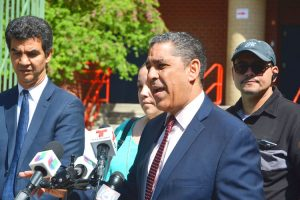 """""""We will not tolerate violence around our schools,"""" said State Sen. Adriano Espaillat."""