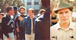 Director Charlie Ahearn on set (left) and today (right).