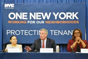 The new measures were announced by Mayor Bill de Blasio and Public Advocate Letitia James (right).