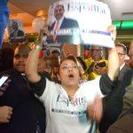 Partidarios de Espaillat reaccionan a los resultados.