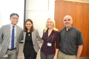 From left to right: DOHMH's Community Affairs Director Dr. Ricky Wong; CUMC's Assistant Neurology Professor Kiran Thakur; Dr. Dyan Summers; and Mailman School of Public Health's Dr. Rafal Tokarz.