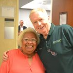 District Leader Maria Luna and Coogan's owner Peter Walsh.