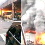 The fire was a four-alarm blaze.