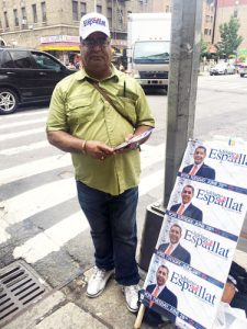 Julio Brito campaigns for Espaillat.