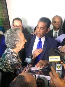 Espaillat and his mother Doña Melba at the end of the evening.